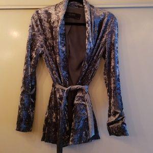 zara blue velevet smoking jacket